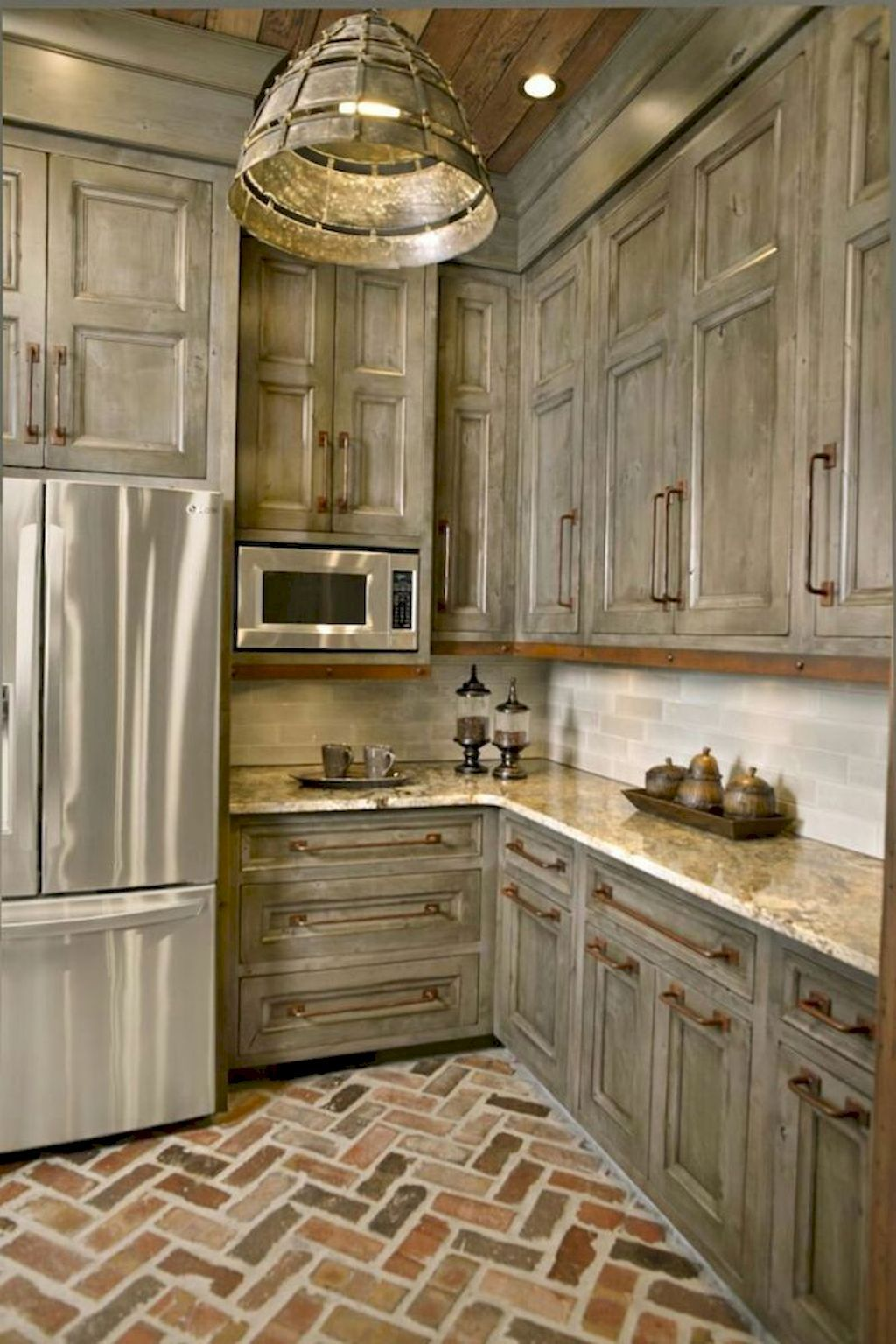 Kitchen Cabinet Ideas Pictures Gallery Two Tone Other Color For Painting Cabinet Diy W Brick Floor Kitchen Rustic Kitchen Cabinets Rustic Farmhouse Kitchen