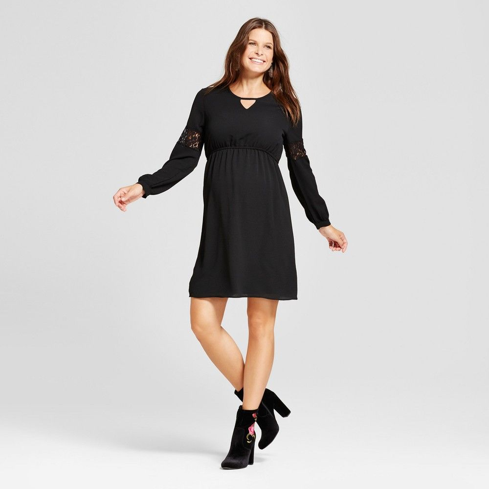 Maternity long sleeve keyhole neck dress macherie black l womenus