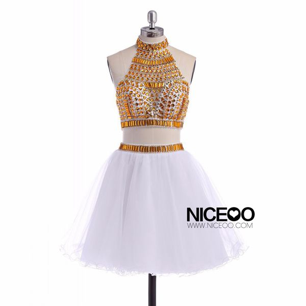 White Two Piece Round Neck Short Mini Tulle prom dresses ...