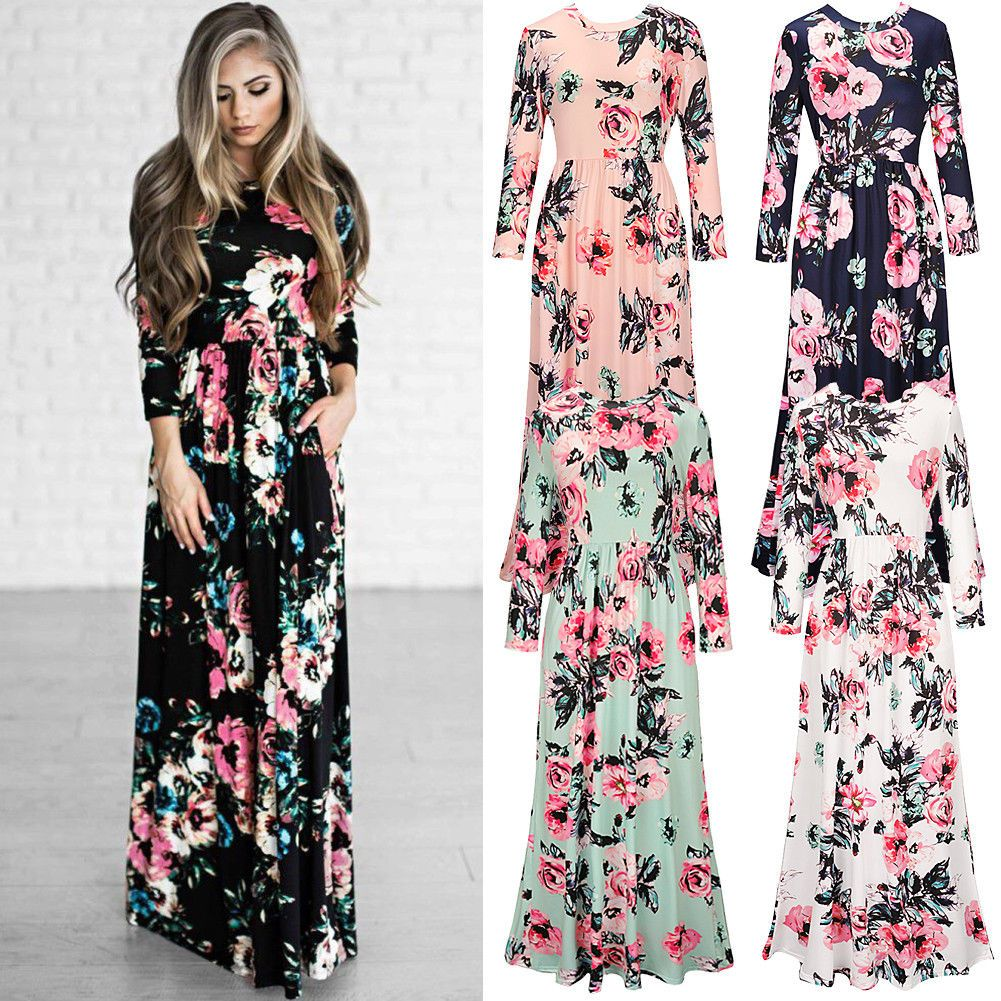 Nice amazing womens long sleeve stretch floral print evening