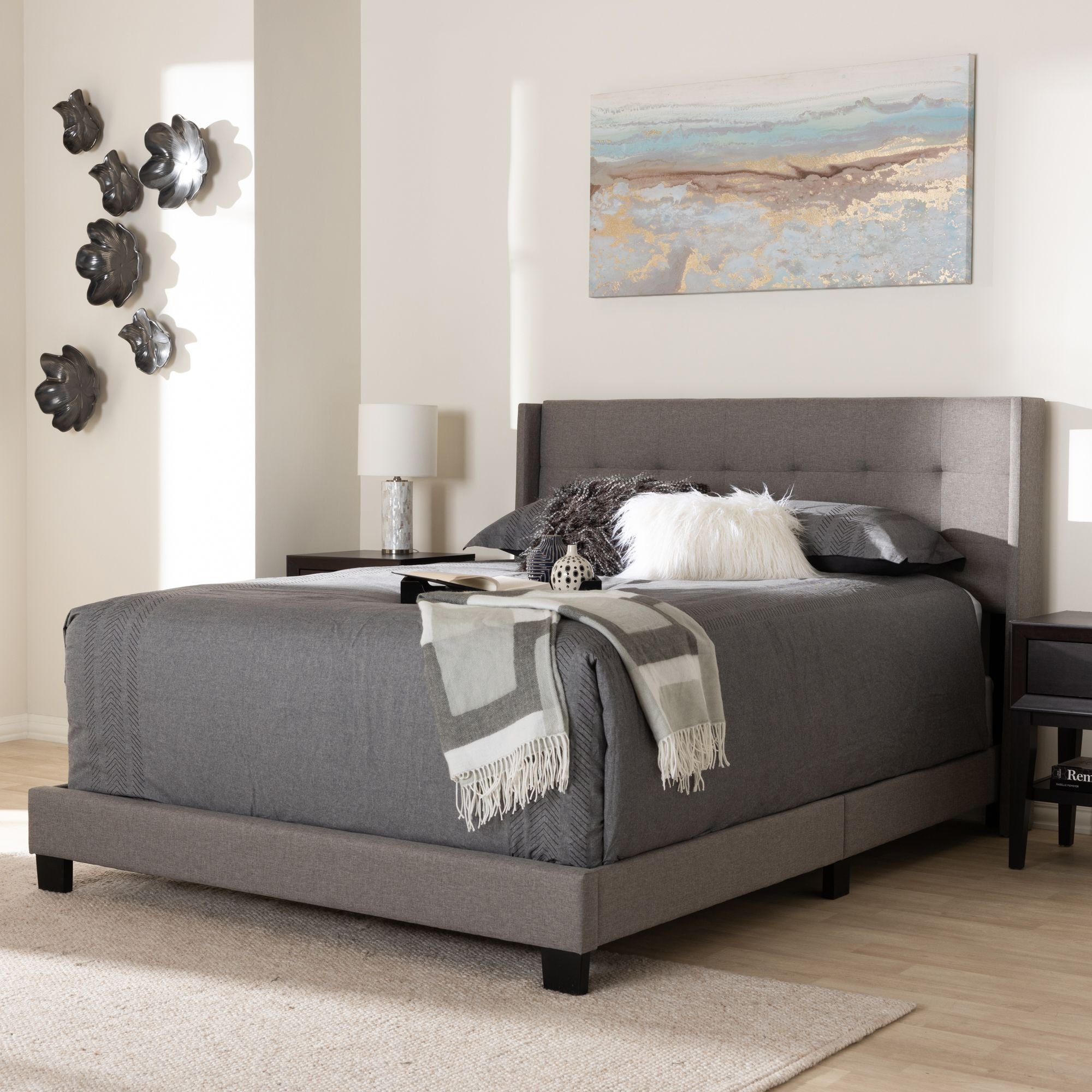 Best Baxton Studio Lisette Modern And Contemporary Grey Fabric 640 x 480