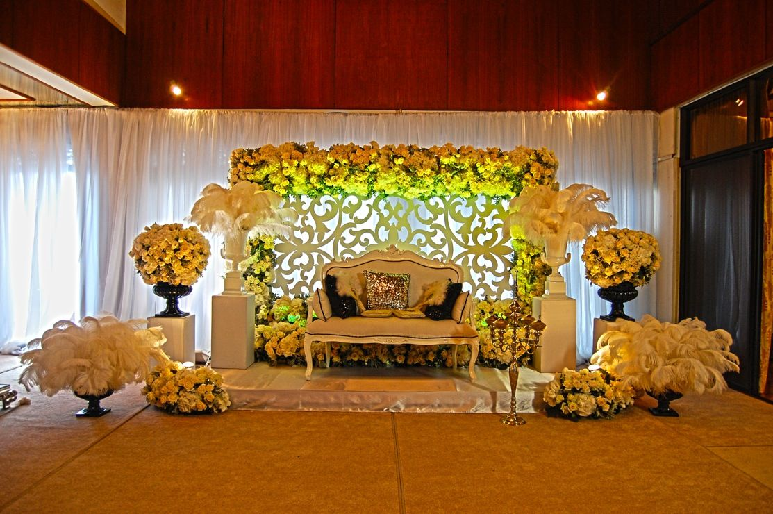 Wedding decoration stage backdrop  White indoor  Benches  Pinterest  Backdrops Wedding and Weddings