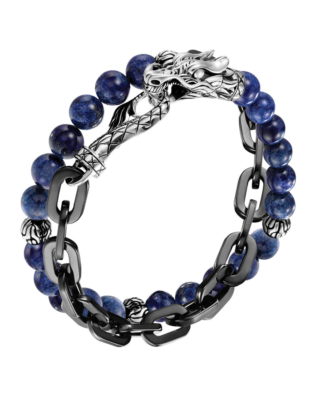 John Hardy Mens Batu Double-Wrap Bead Bracelet, Black