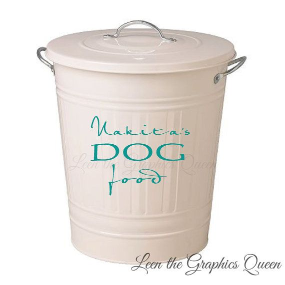 Customized Dog Food Storage Container DECAL with Name Removable