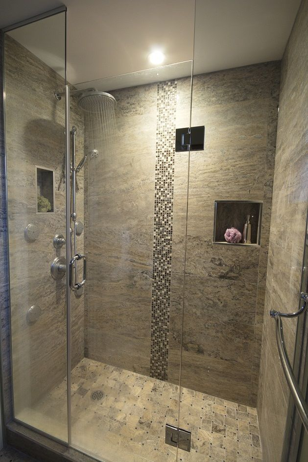 Good Small Bathroom Ideas With Stand Up Shower Part - 14: Stand Up Shower, Rain Shower Head, Spa. I Would Add A Seat, Frost The  Glass, And Extend The Door To The Ceiling To Create A Steam Shower