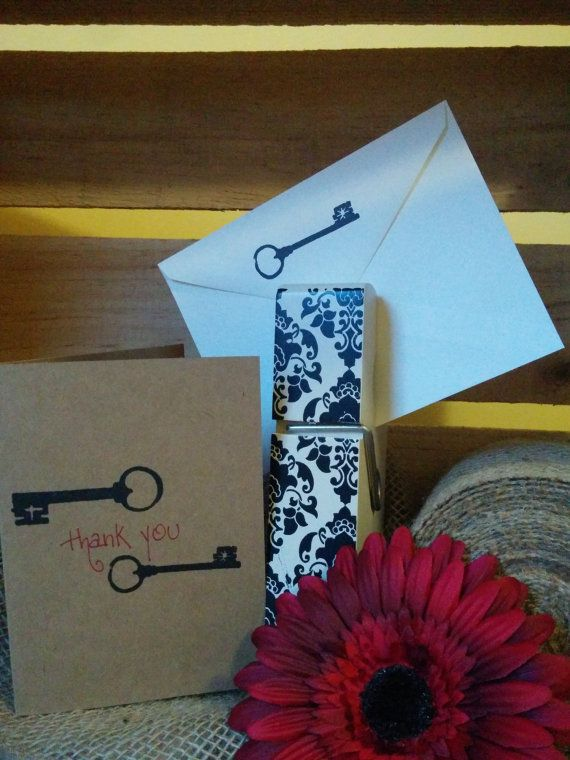 Natural Paper, Hand Stamped Vintage Key Thank You Cards by SplatteredDaisies on Etsy