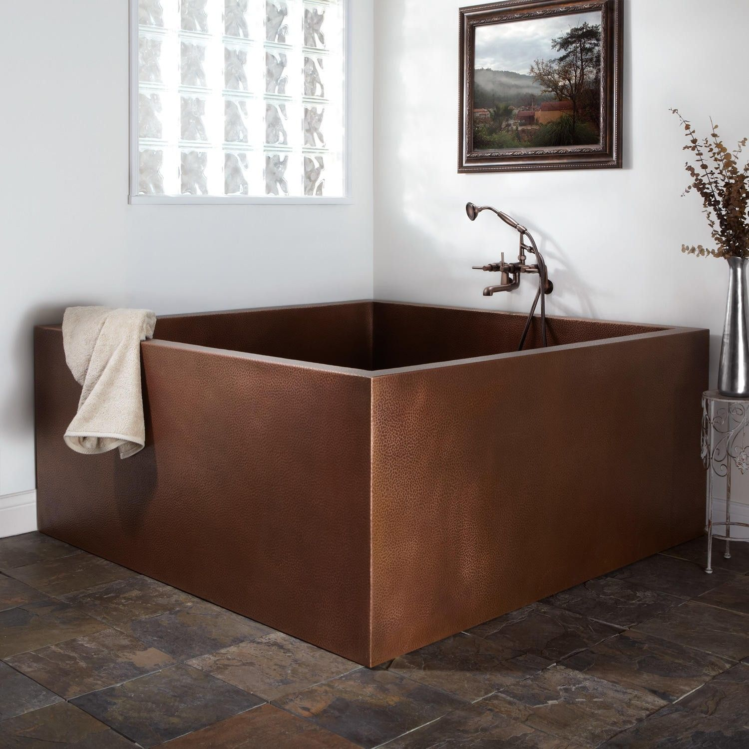 60 Elsinore Double Wall Square Hammered Copper Soaking Tub