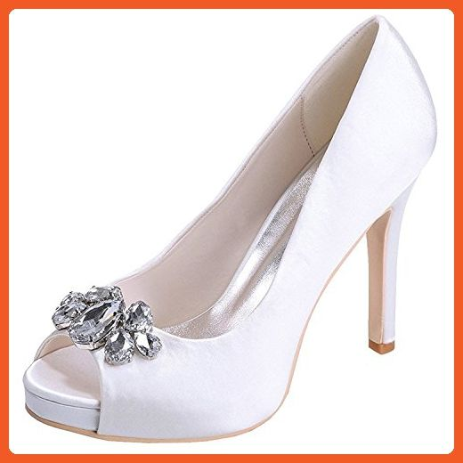 Uerescha Women's Peep Toe Pumps Satin Rhinestones Encrusted Stiletto High Heel Wedding Bridal Shoes White40 M EU / 9 B(M) US - Sandals for women (*Amazon Partner-Link)
