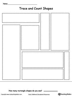 Trace and Count Rectangle Shapes Pre K and Kindergarten Printables