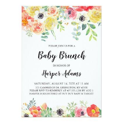 sweet floral baby brunch invitation in 2018 floral bridal shower