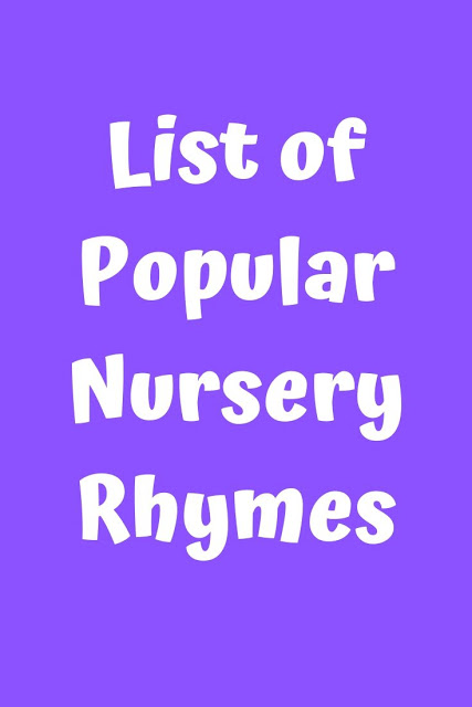 List Of Por Nursery Rhymes Lyrics