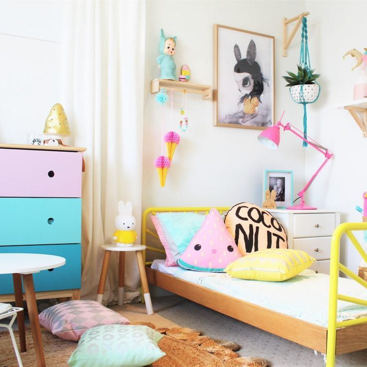 KIDS BEDROOM - colourful girl\'s bedroom using a pop of yellow ...