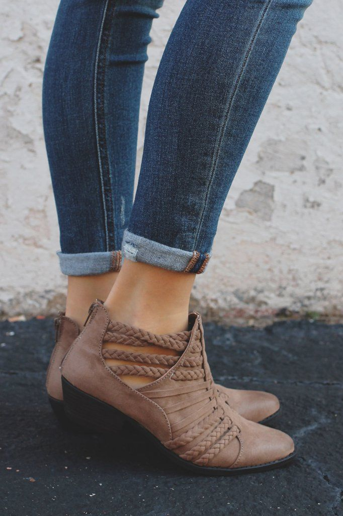 4560a7eda59 Taupe Braided Cutout Strappy Ankle Booties Sochi-87 – UOIOnline.com   Women s Clothing Boutique