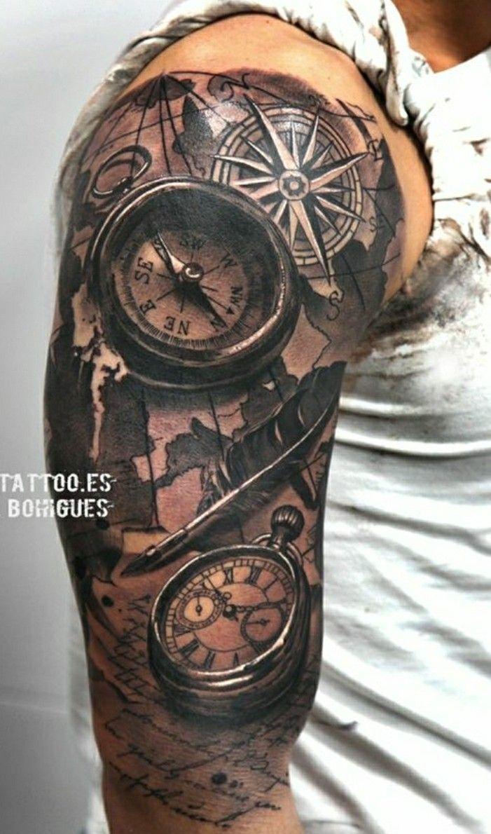 Tatuaje Brazo Tatuajes Tatuajes De Mapa Tatuajes Nauticos