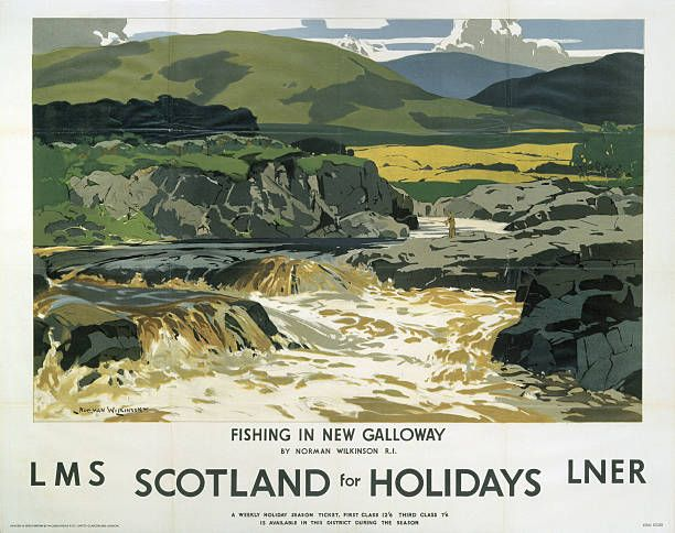 Poster produced jointly by London Midland Scottish Railway and ,London North Eastern Railway to promote rail travel to Scotland The poster shows a.../17