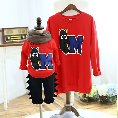 QZZ107 New 2015 Autumn Winter Family look mother and kids sweatshirts Red letter M 2 8Y kids family matching sweatshirts clothes