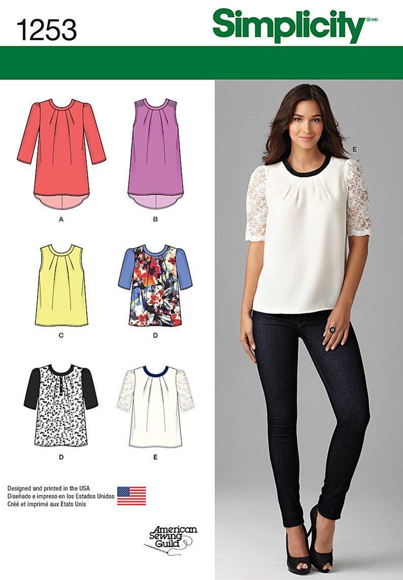 Simplicity Pattern 1253P5 12-14-16-1-Top / Vest | Patterns ...