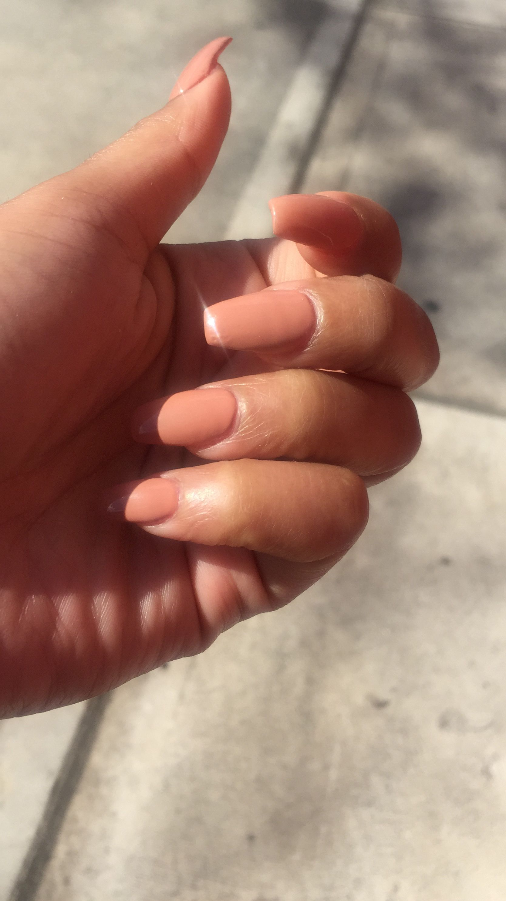 peach coffin nails on woc brownskin nails pinterest nails