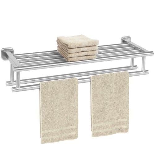 The Art Gallery Stainless Steel Double Towel Rack Wall Mount Bathroom Shelf Bar Rail Hotel Style