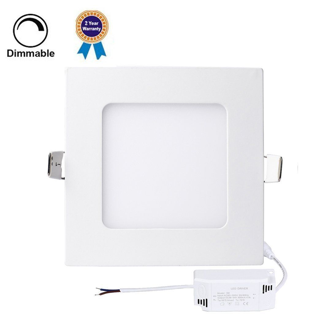 Amazon Com H G Lighting Dimmable Square Led Panel Light Lamp Ultra Thin Recessed Ceiling Light Downlight With 12 Led Panel Light Downlights Recessed Ceiling