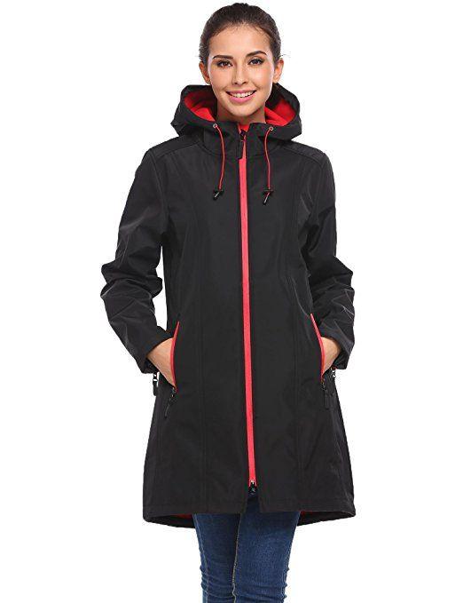 Coorun Women S Waterproof Fleece Lined Long Hooded Softshell Rain Jacket Outdoor Windbreaker Raincoat Windbreaker Insulated Jackets Jackets