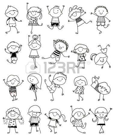 Dessin d enfant croquis dessin groupe d 39 enfants clipart pinterest dessin croquis - Modele dessin personnage ...