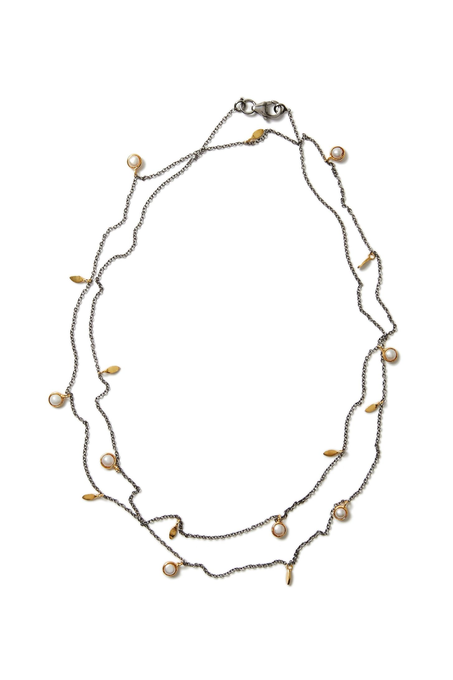 Photo of Delicate Gun Metal Grey Layer Necklace with Freshwater Pearl and Gold Leaves