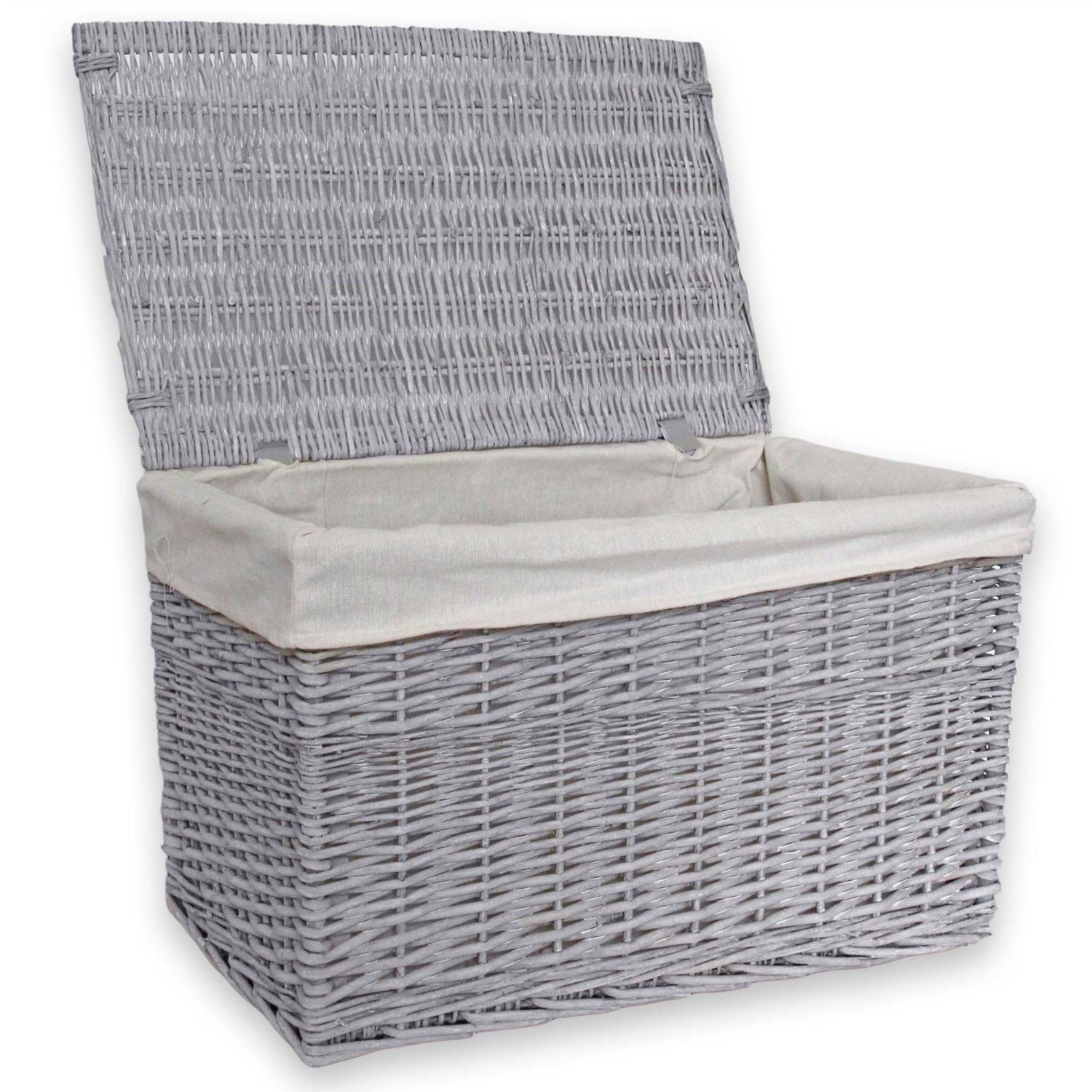 Great Homescapes Rectangular Grey Willow Wicker Laundry Baskets And Storage Basket  With Lid And Lining; A