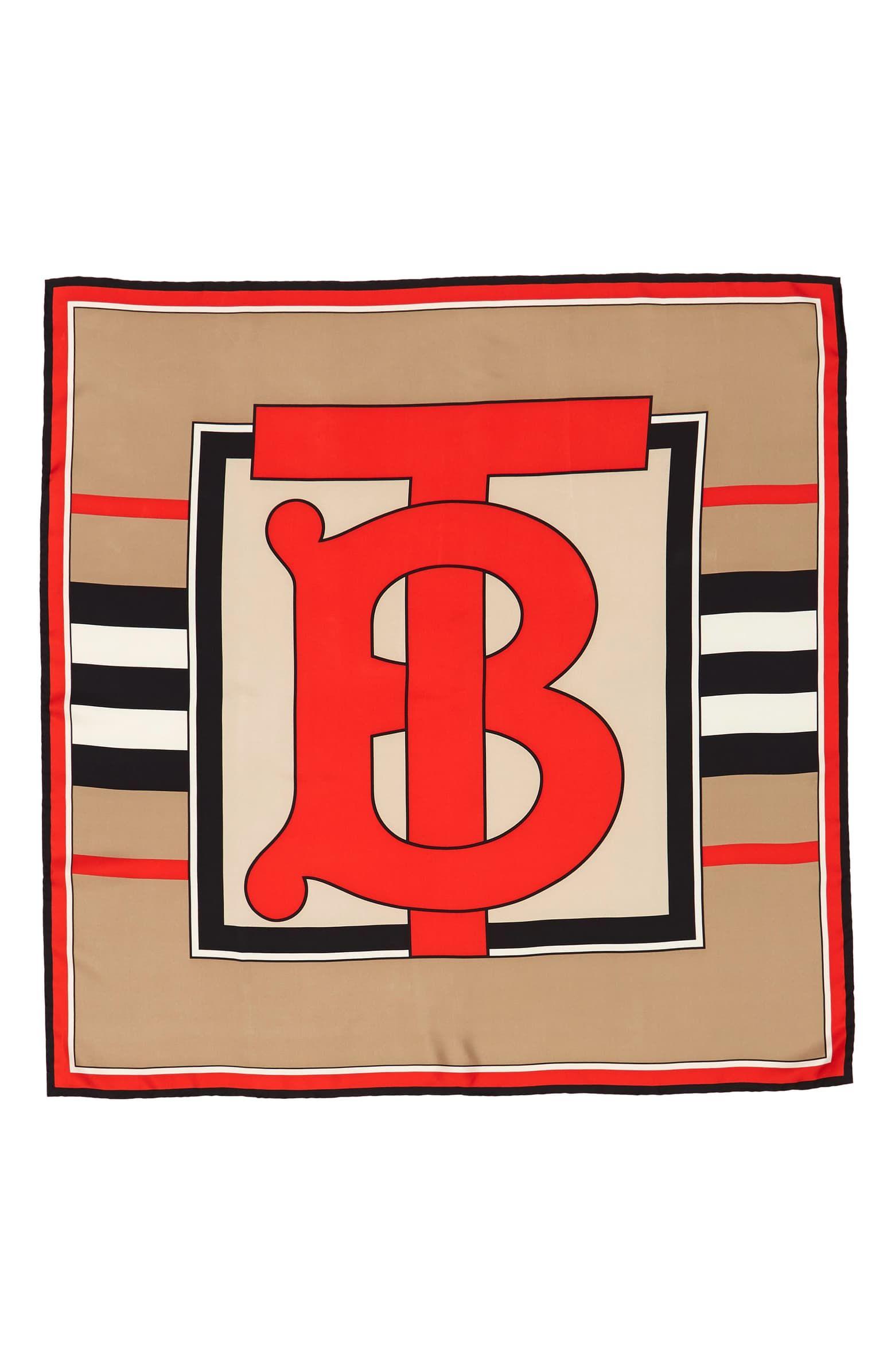 Burberry Monogram Heritage Stripe Silk Scarf Stripe