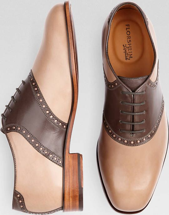 7c5fa1059b919 Florsheim Tan and Brown Oxford Saddle Shoes