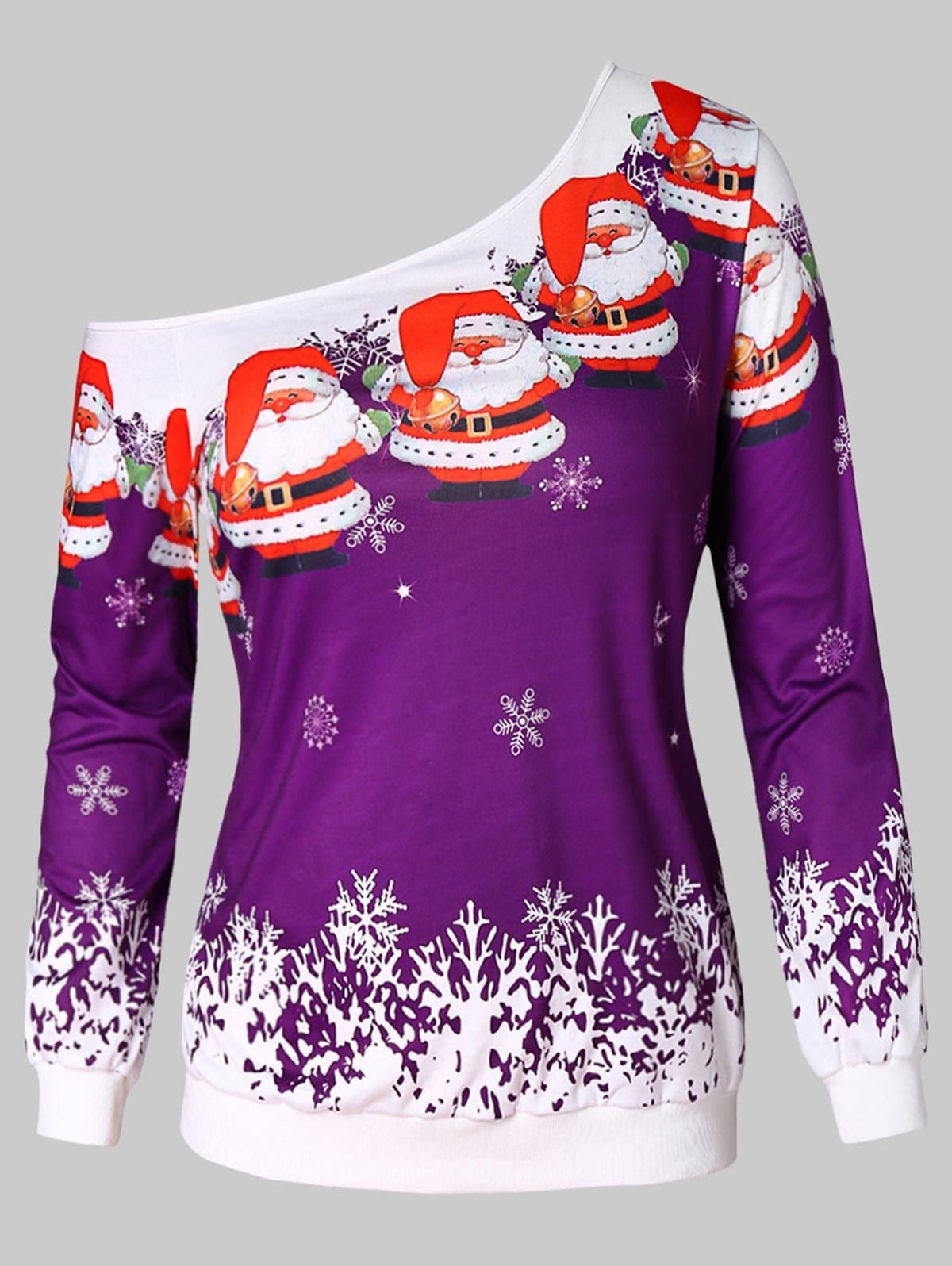 cb6b6fe63bcd28 Snowflake and Santa Claus Print Plus Size Sweatshirt