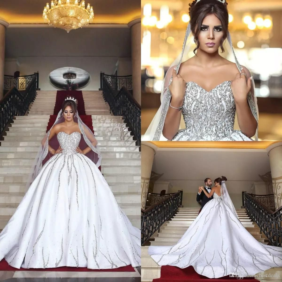 f4318a951ad Luxury Bling Dubai Arabic Plus Size Ball Gown Wedding Dresses Beads Sequins  Sweetheart Backless Sweep Train Country Wedding Dress 2018 from bestdeals