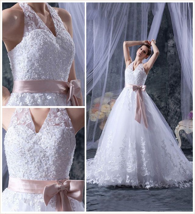 Halter Lace Wedding Dress