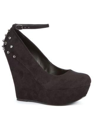 Black (Black) London Rebel Black Spike Heel Court Wedges | 262096601 | New Look #black #heel #wedge #spikes
