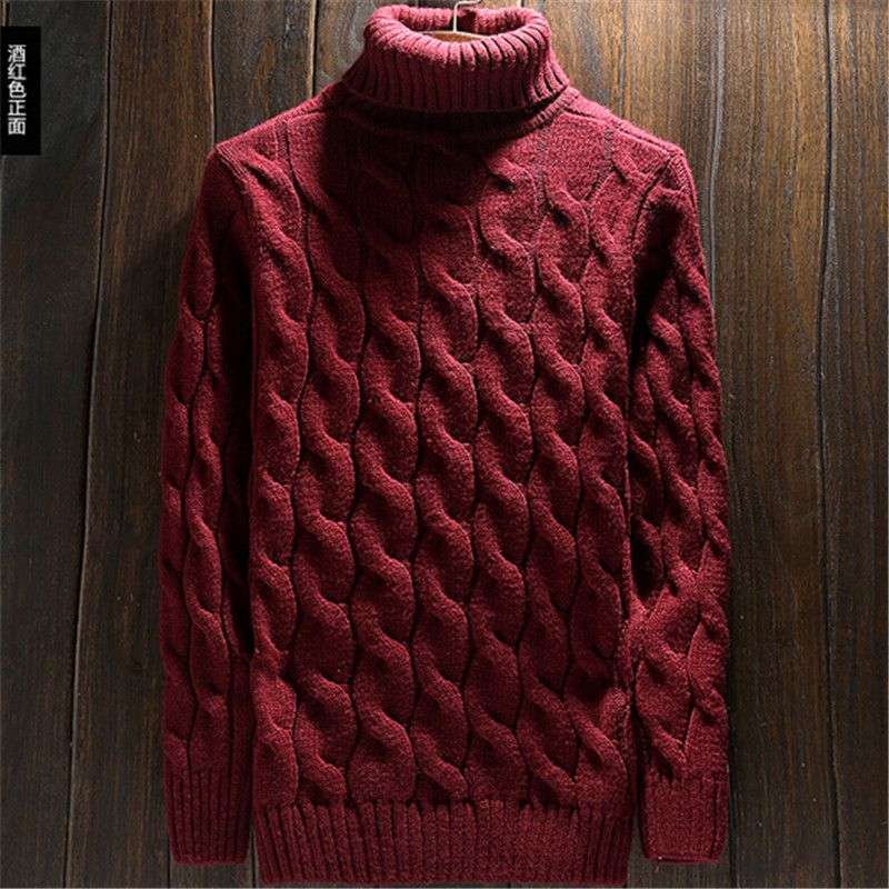 Men Turtleneck Sweater ჱ Korean Thicken Fashion Winter Pullover ...