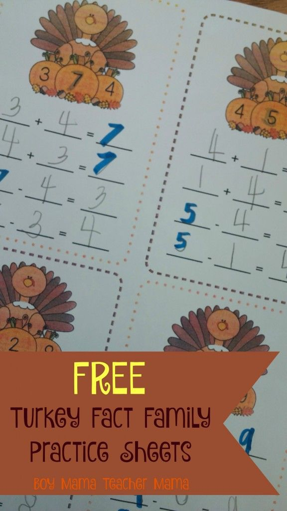 Teacher Mama: FREE Turkey Fact Families Practice Sheets {After ...