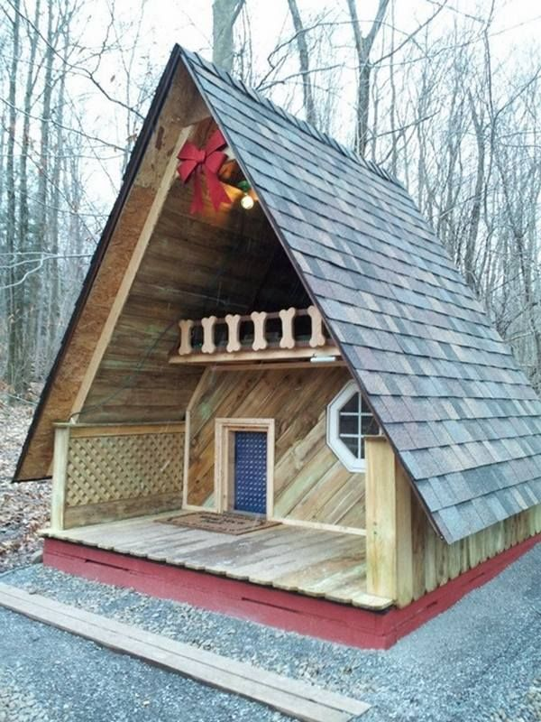 cool dog house ideas two floors porch balcony pitched roof