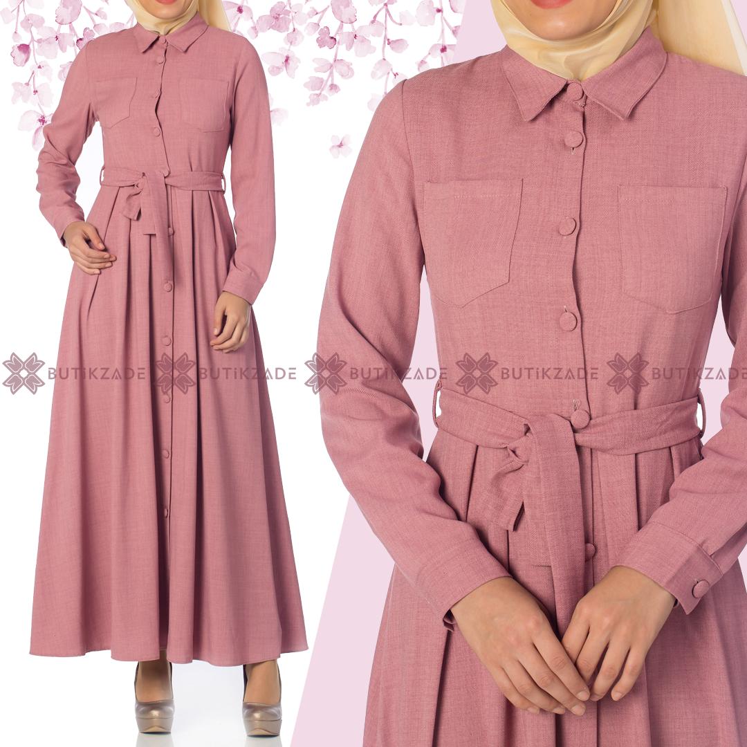 Boydan Dugmeli Elbise Pembe Kiyafet Elbise Pembe