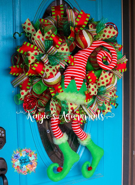 Elf Wreath, Christmas Wreath, Mesh Elf Wreath, Christmas Door