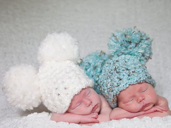 6f4b22bfe36 Twin Baby Hats 11 Colors 0 to 3 Month Baby Girl Hat Baby Boy Hat Pom Pom Hat  Twin Photo Props Baby Twins Photography Props Twin Hats