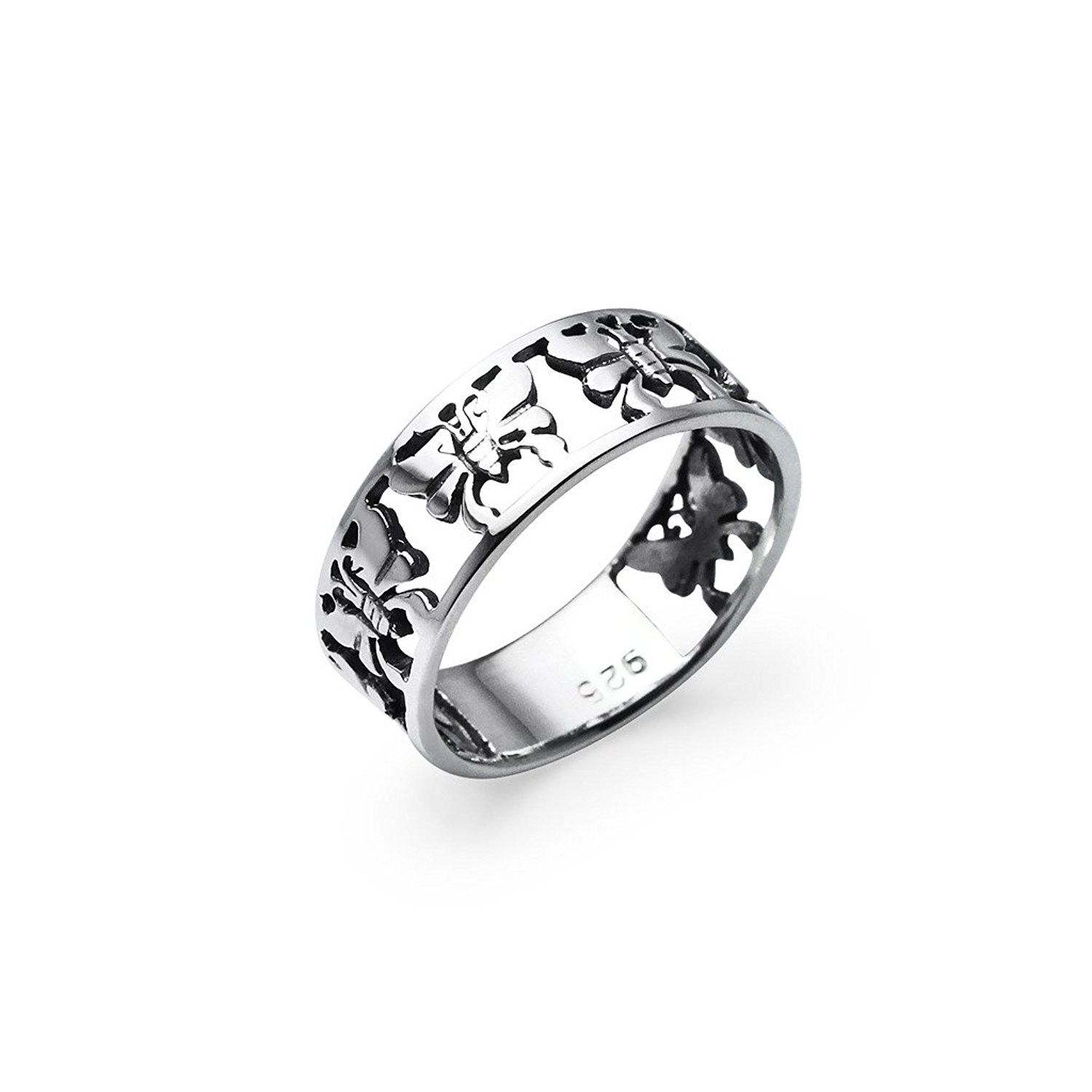Butterfly Band Sterling Silver Ring