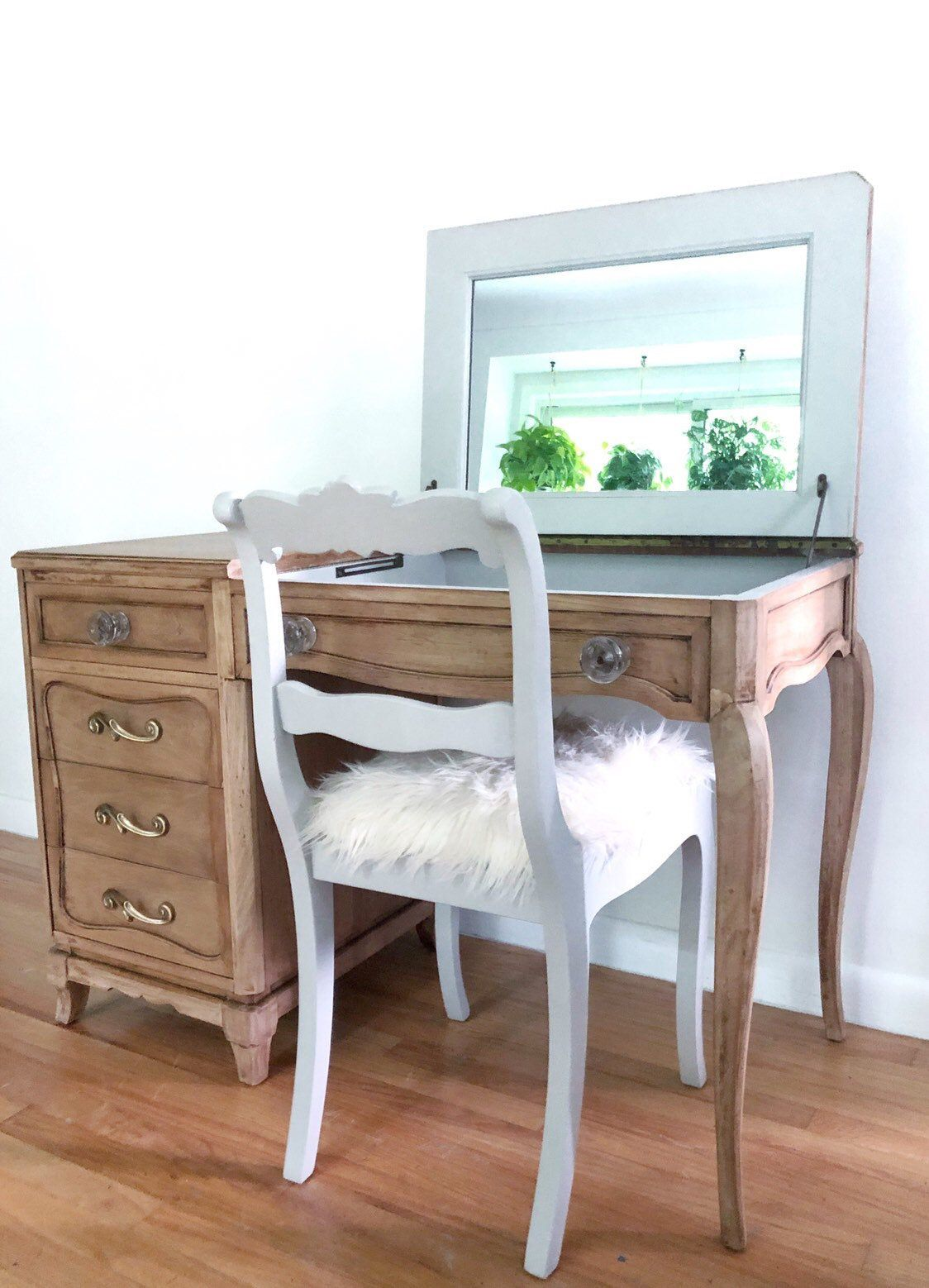 Rway vintage Art Deco style vanity dressing table makeup mirror built in images