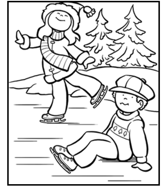 Winter Ice Skating Kids coloring picture for kids | Winter ...