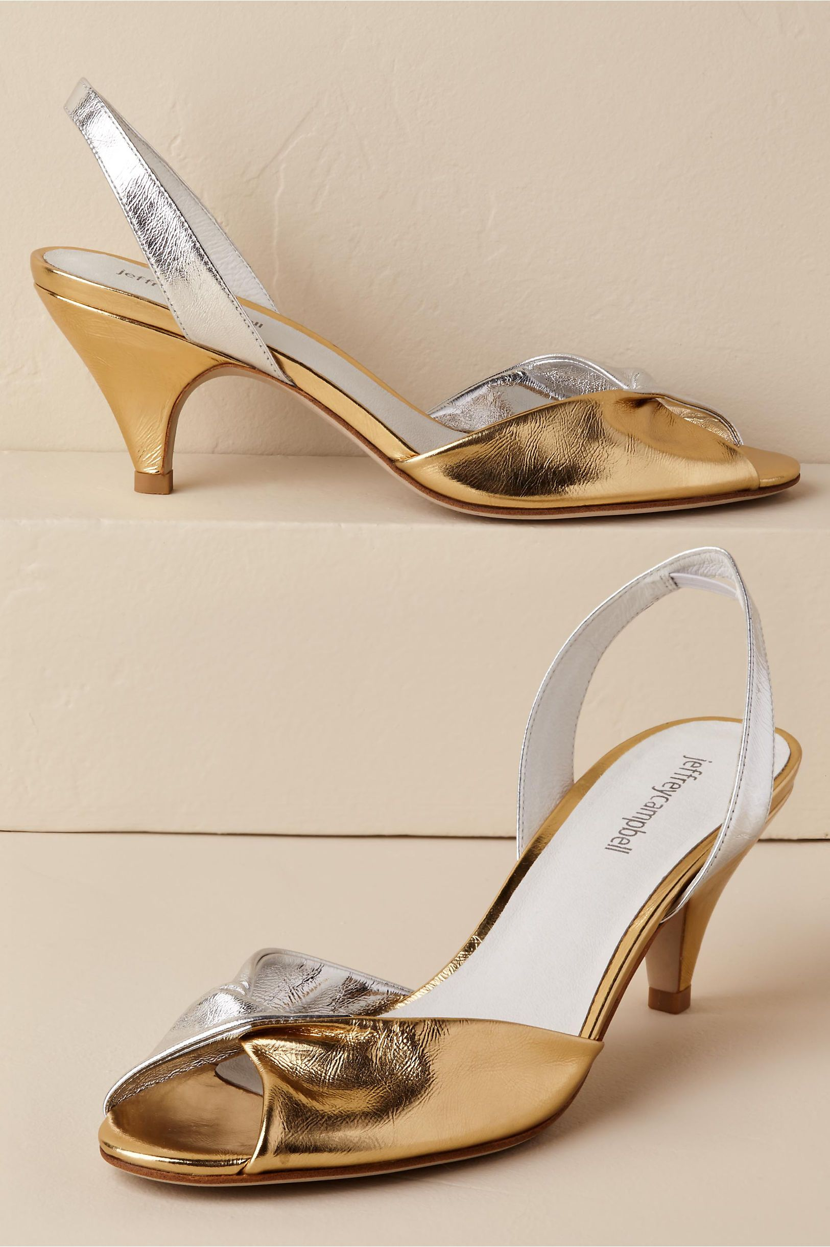 94938258d8a BHLDN s Jeffrey Campbell Siyana Kitten Heels in Silver Gold Combo ...