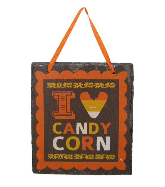 I Heart Candy Corn Wall Slate