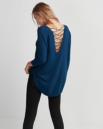 d2d2e8ac20 lace-up back circle hem sweater - Express - Love the details
