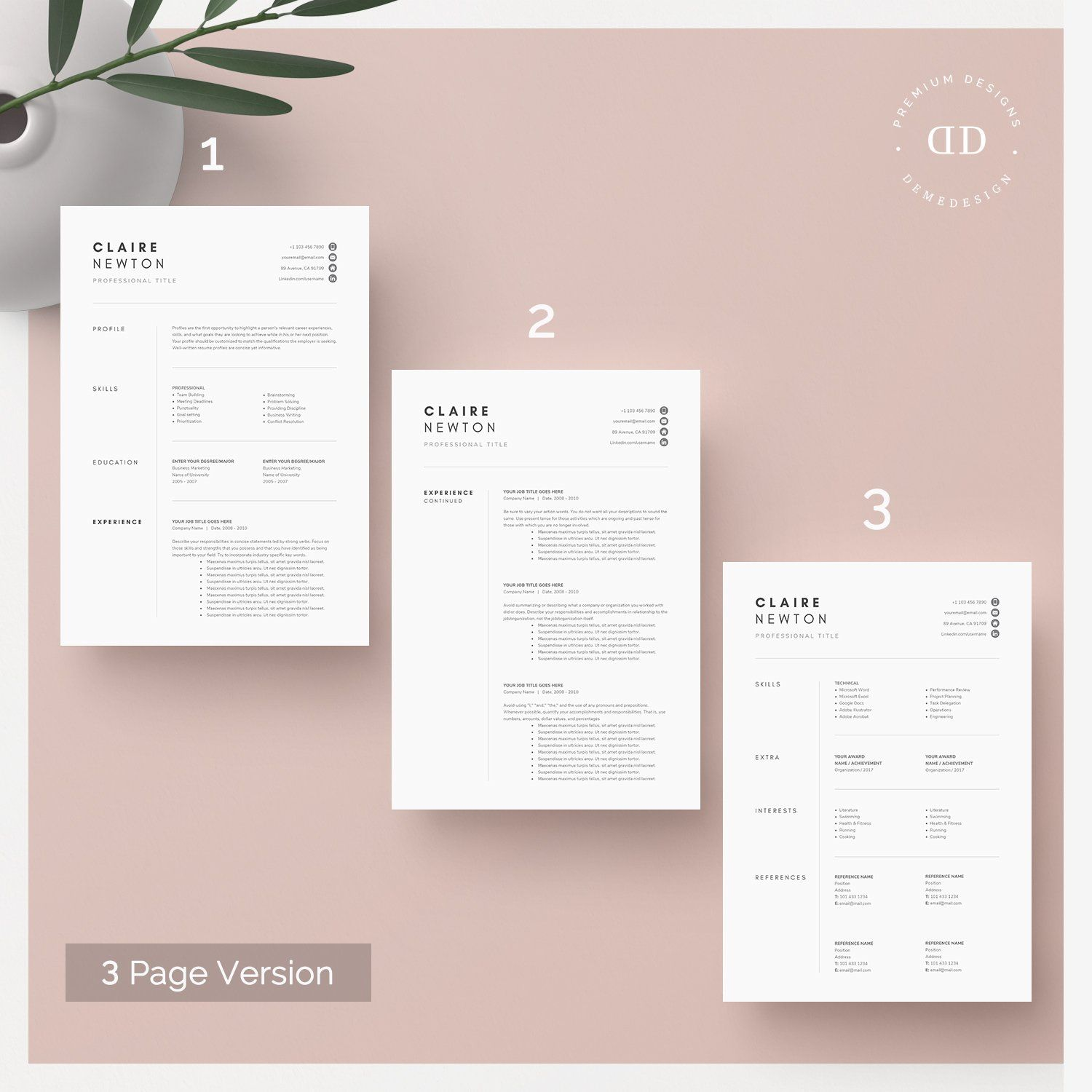 1 2 And 3 Page Word Resume Template Resume Template Cover Letter Template Resume Writing Tips