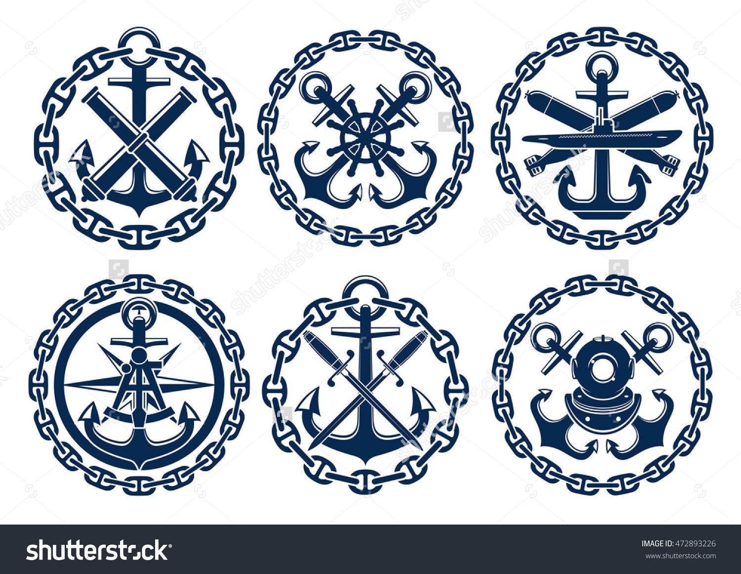 Marine And Nautical Emblems, Icons, Badges. Graphic