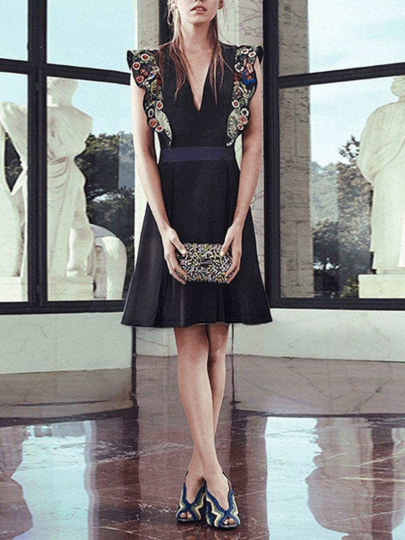Black vneck embroidery floral ruffle detail dress dresses tops