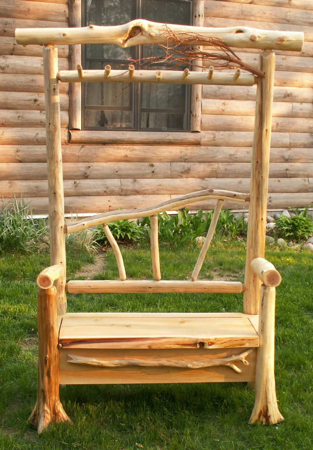 log bench ideas ideas for the home rustic log furniture log furniture cedar furniture. Black Bedroom Furniture Sets. Home Design Ideas